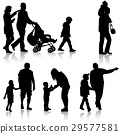 silhouette, family, walk 29577581