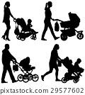 parent, silhouette, stroller 29577602