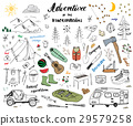 Camping Hiking Hand Drawn sketch doodle set vector 29579258