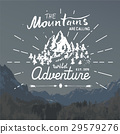 Mountains vintage label camping and hiking vector 29579276