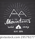 Mountains vintage label camping and hiking vector 29579277