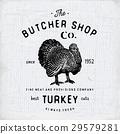 Butcher Shop vintage label turkey meat vector 29579281