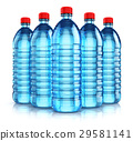 Group of blue plastic drink water bottles 29581141