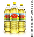 Group of plastic bottles with rapeseed oil 29581145