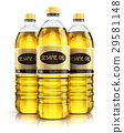 Group of plastic bottles with sesame seed oil 29581148