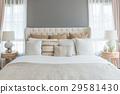 big comfortable double bed in elegant in bedroom 29581430