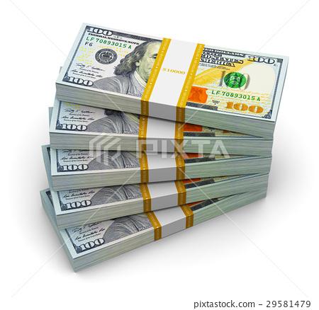 Stacks of new 100 US dollar banknotes 29581479