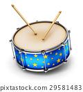 Blue drum with drumsticks 29581483
