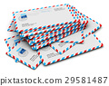Stack of paper airmail letters 29581487