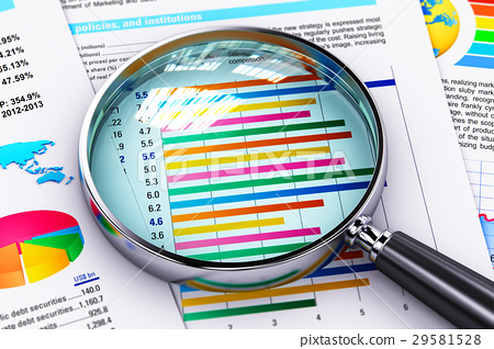 Financial report documents and magnifying glass 29581528