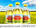 Group of plastic bottles with rapeseed oil 29581547