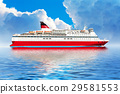 Cruise ship in ocean 29581553