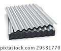Group of wave shaped zinc-plated metal sheets 29581770