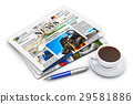 Stack of business newspapers and coffee cup 29581886