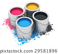 Cans with CMYK paint 29581896