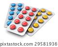 Set of color pills in blister packs 29581936