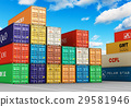 Stacked cargo containers in freight port terminal 29581946