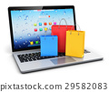 Laptop with group of color paper shopping bags 29582083