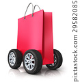 Red paper shopping bag with car wheels 29582085