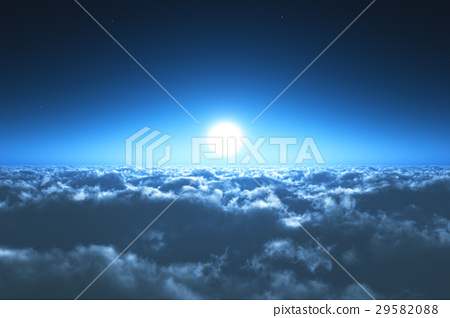 Night flight above the clouds 29582088