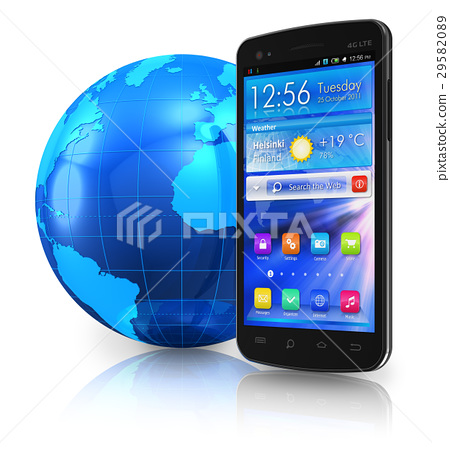 Touchscreen smartphone and Earth globe 29582089