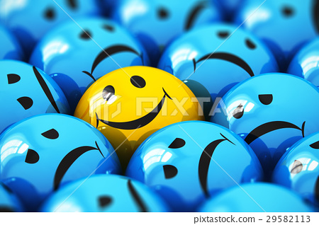 Single happy yellow smiley among blue sad ones 29582113