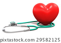 Medical stethoscope and red heart shape 29582125