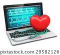 Laptop with medical software stethoscope and heart 29582126