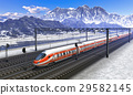 Railroad station mountains with high speed train 29582145