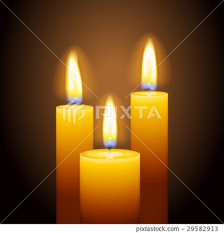 Set of three burning candles 29582913