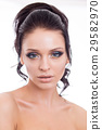 Colorful make-up woman face, beautiful brunette 29582970