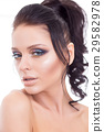 Colorful make-up woman face, beautiful brunette 29582978