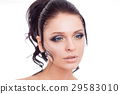 Colorful make-up woman face, beautiful brunette 29583010