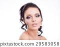 Colorful make-up woman face, beautiful brunette 29583058