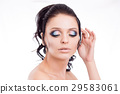 Colorful make-up woman face, beautiful brunette 29583061