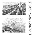 Vintage engraved, hand drawn vineyards landscape 29584331