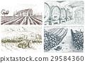 Vintage engraved, hand drawn vineyards landscape 29584360