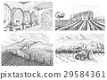 Vintage engraved, hand drawn vineyards landscape 29584361