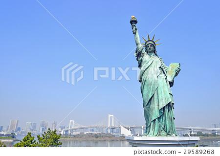 東京Odaiba自由女神像和彩虹橋 29589268