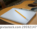 Yellow Acoustic Guitar On Wooden Table 29592147