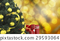 close up christmas tree with red candle  29593064