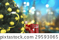 close up christmas tree with red candle  29593065