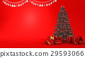 red bell on christmas tree with gift and decor 29593066