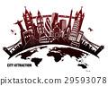 landmarks from around world in grunge style 29593078