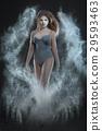 Woman dances in a dust cloud. 29593463