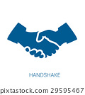 Handshake vector blue flat icon 29595467