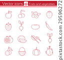 Red fruits and vegetables, Line vector icons. 29596272