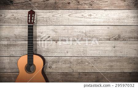 3d rendering classical guitar near wooden wall 29597032
