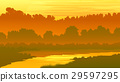 Vector illustration forest with river at sunset. 29597295