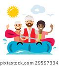 Vecctor Refugee migrants boat. Illegal migration. 29597334